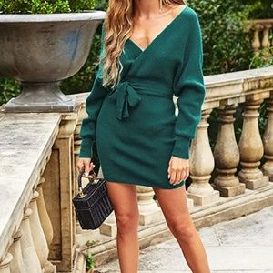 New Emerald Long Sleeve Belted Wrap Sweater Dress